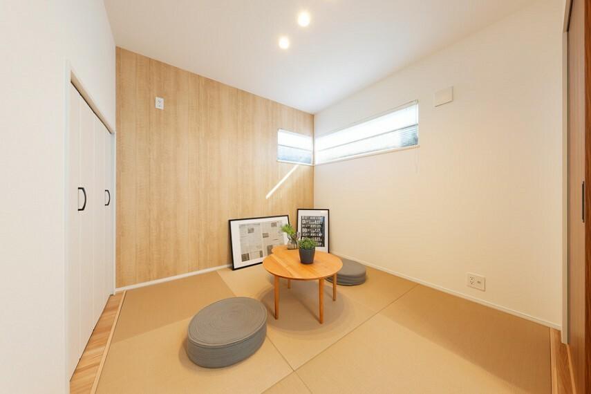 5号棟/モダン和室  リビングに隣接したモダン和室は、ご家族共有のリラックススペースとして活用できる寛ぎ空間。※2021年1月撮影(分譲済)