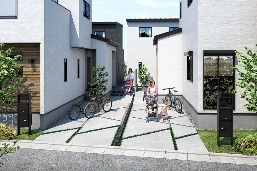 """EXTERIOR  スマートサイクルライフをテーマとした""""BASE88""""では、これまで通りから見えることの多かったサイクルスペースを建物と一体化させるデザインとすることで、各敷地の前面に豊かな緑を演出。潤いの街並み景観を創出しています。また、カースペースの舗装にスタイリッシュなカッティングデザインを施し、シンプルな中にも躍動感あるファサードを生み出しました。"""