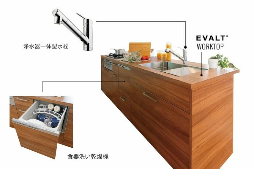 キッチン/GRAFTEKT  リビングと繋がるフラットオープンスタイルで、食器洗い乾燥機・ステンレスシンク・ソフトクロージングシステムのデザイン×機能性も考慮したキッチンです。