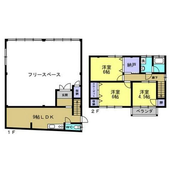 間取り図 【リフォーム済】間取り変更を行い2階は全室洋室に変更。1階は台所と和室をつなげて9帖LDKとしました。1階フリースペースは店舗、事務所など様々な使い方ができます。