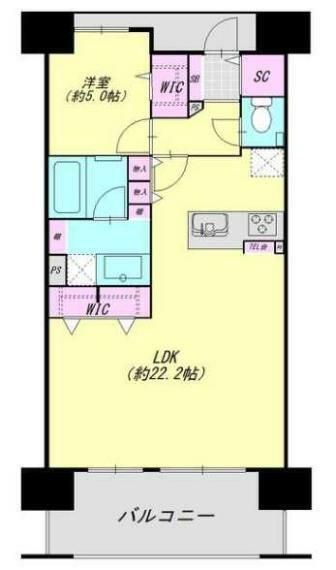 間取り図 南向き13階部分住戸で採光・眺望良好!広々間取の1LDK+2WIC!