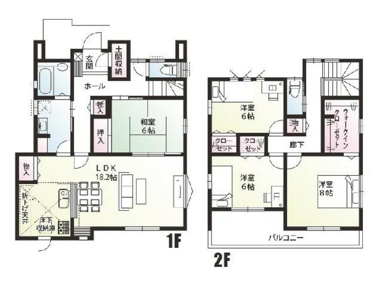 間取り図 栃木市箱森B号棟間取り・・・キッチンから洗面室、浴室へと家事動線を取り入れた間取りです。