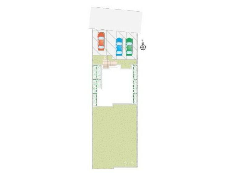 区画図 栃木市箱森B号棟区画図・・・駐車スペース3台可能。