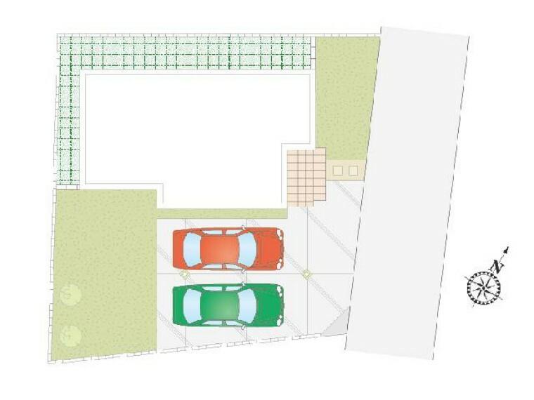 区画図 栃木市川原田C号棟区画図・・・駐車スペース2台可能。