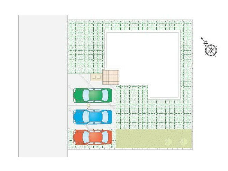 区画図 栃木市沼和田D号棟区画図・・・駐車3台可能な駐車スペース。