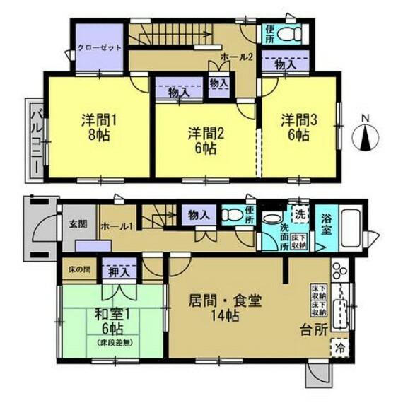 間取り図 【間取り図】4LDK、ウォークインクローゼット付のお家です。1階、2階の両方にトイレがあります。わざわざ1階に降りなくてもトイレに行けるのは便利ですよね。