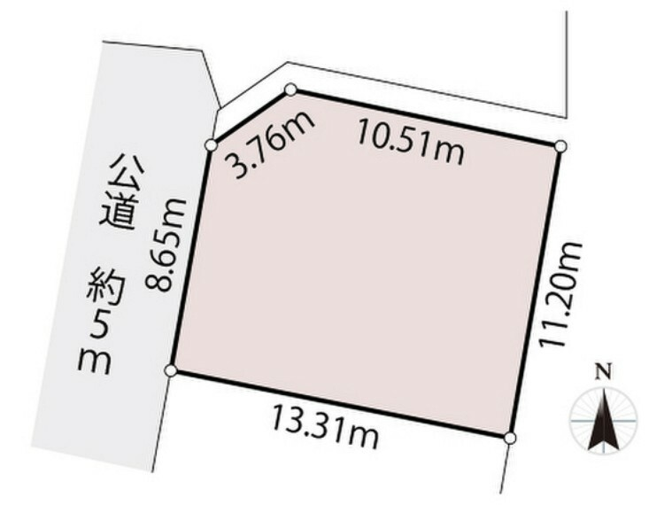 区画図 西側道路に接道した整形地。
