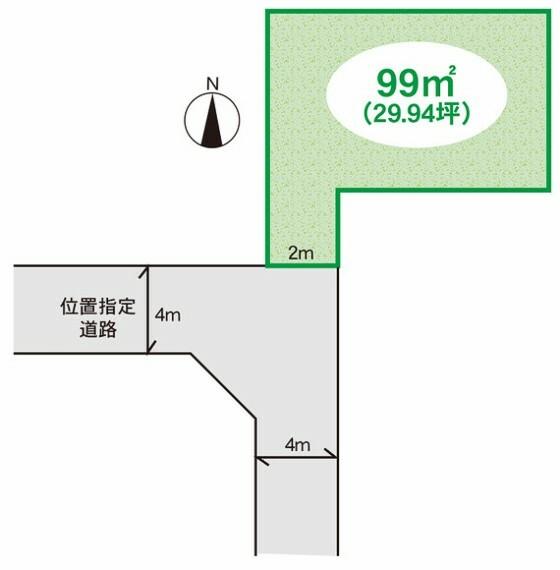 区画図 敷地面積99m2建築条件なし!お好みのプランで建築出来ます