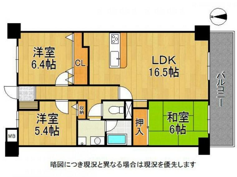 間取り図 各居室収納スペースがあり、お部屋スッキリ片付きますね!