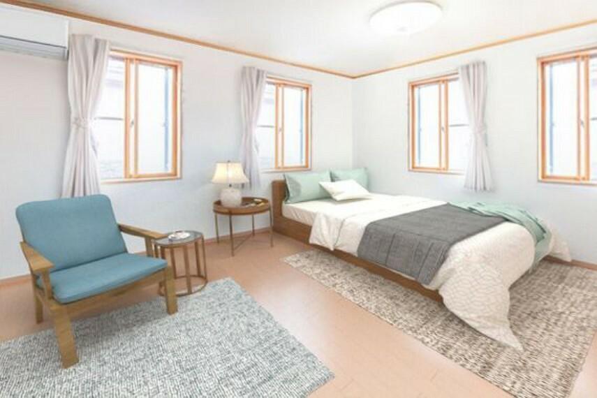 専用部・室内写真 圧巻の18帖超えの洋室です。スタイリッシュな窓が彩光を取り込みお部屋が大変明るいです。※家具はCGによるイメージです。
