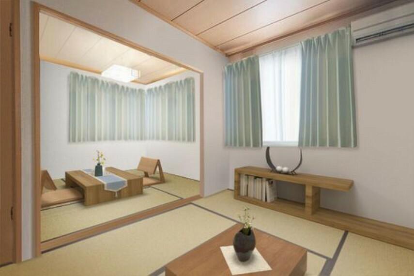 専用部・室内写真 6帖と4.5帖の2つの和室が連なる居室は使い勝手も良いです。※家具はCGで消して間取りがわかるようにしております。