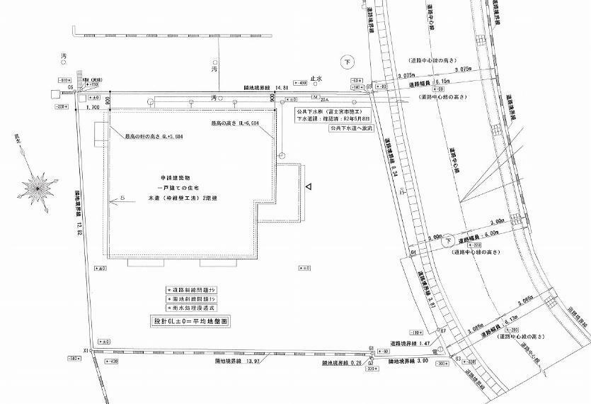 土地図面 配置図:東側公道に13.6m接する