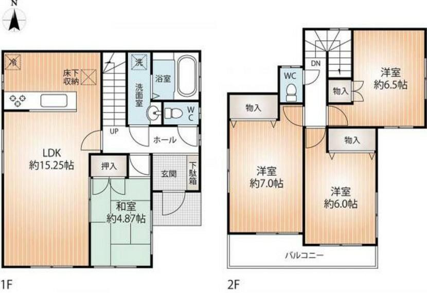 間取り図 全居室収納付きの4LDKまた、全居室2方向窓ですので、通風も良好です。