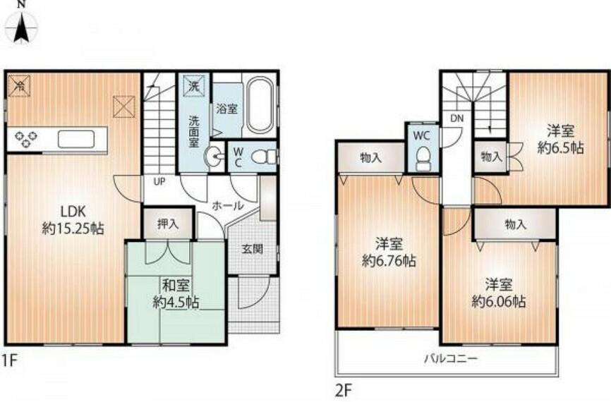 間取り図 全居室収納付きの4LDK。また、全居室2方向窓ですので、通風も良好です。