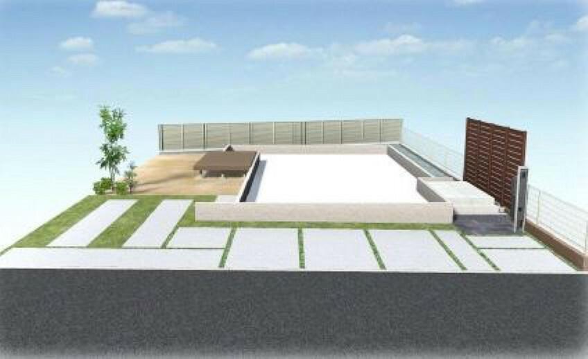 完成予想図(外観) (外構パース)広い南庭にはウッドデッキ設置!レジャーシートを敷いてピクニック気分も味わえますね^^