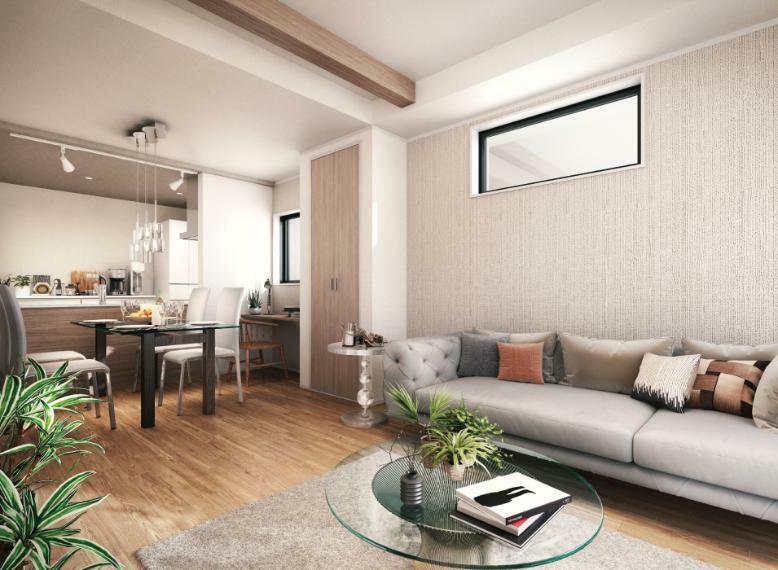 完成予想図(内観) 2号棟はホテルライクで温かみのある室内カラー