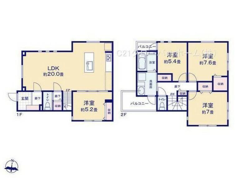 間取り図 家族でゆっくり過ごせる20帖のLDK。1階約5.2帖の洋室はリビングと一体で利用も可能。2階約7帖の洋室は勾配天井につき開放感があります。