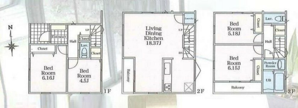 間取り図 1号棟 ■間取り:4LDK ■土地面積:71.52平米 ■建物面積:97.43平米