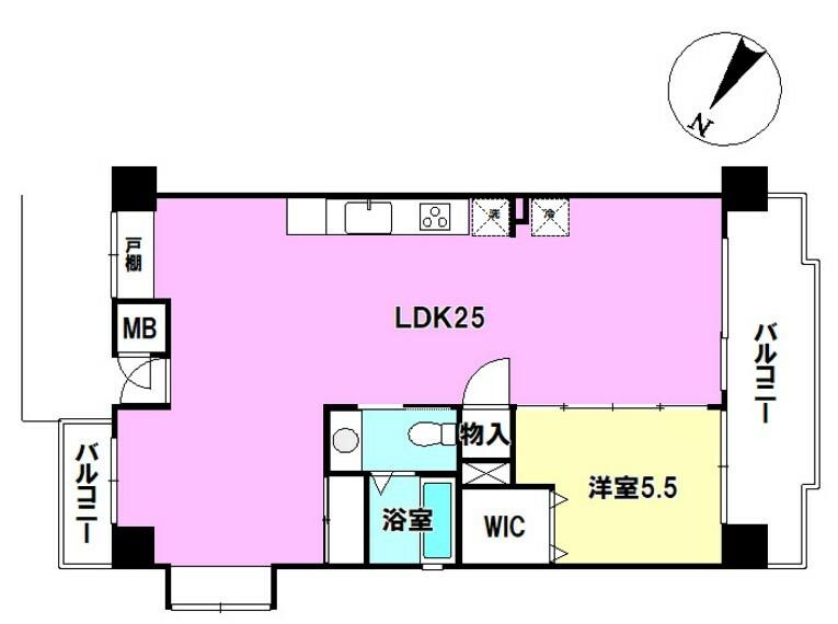 間取り図 専有面積 56.71平米 間取り 1lDK 洋室5.5帖にはたっぷり収納可能なウォークインクロゼット付き! LDKは、広々25帖です!