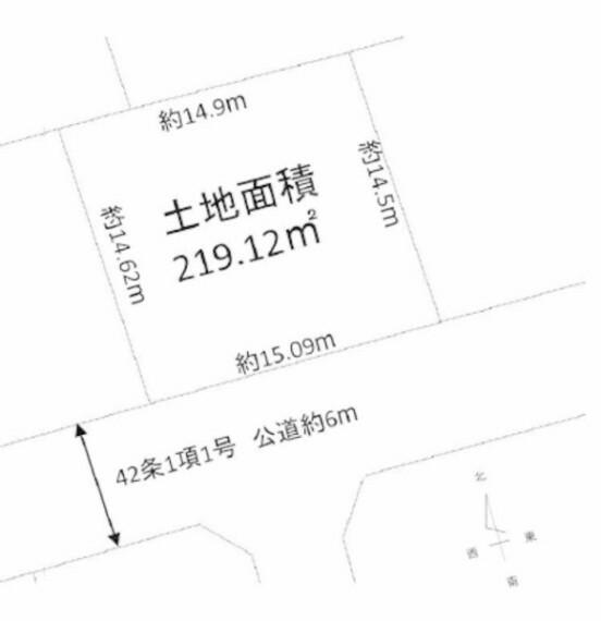 土地図面 約66坪の広さがある敷地に、お好みの間取りや外観の注文住宅を建てることができます。