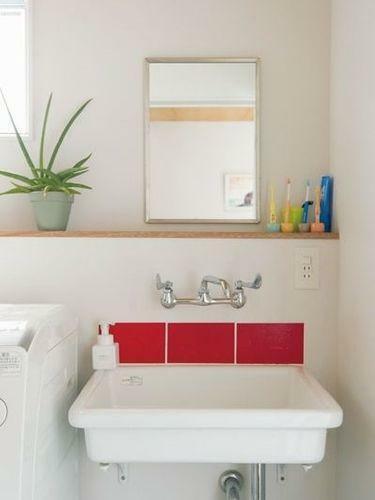 リフォーム案の2階手洗い場のイメージです。独立した手洗い場があると、家族が多くても朝の準備がスムーズに出来ますので大変に便利です。