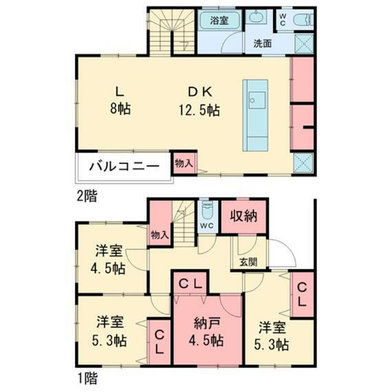 間取り図 3LDK+S(納戸)、価格2980万円、占有面積100.19平米の間取り図です。お部屋の数と収納スペースが充実しております。カースペースもございます。