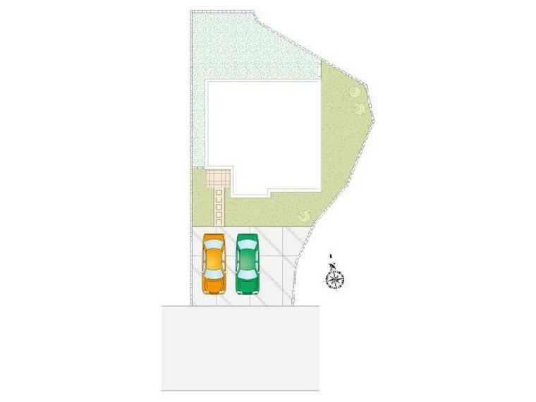 区画図 A号棟:区画図・・・並列2台駐車可能となっております。