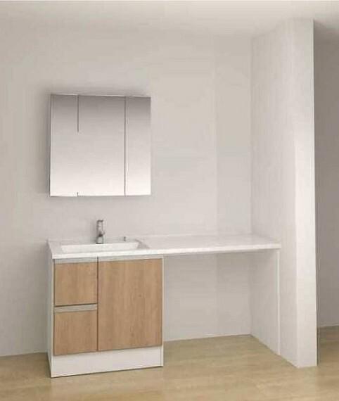 完成予想図(内観) 【内装パース】カウンターと可動棚を設置し、朝晩使う洗面空間がより使いやすくなりました!