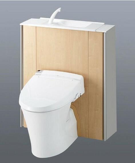 完成予想図(内観) 【内装パース】タンクを隠し、手洗い場と収納を備えつつもスマートに魅せる1階トイレ!