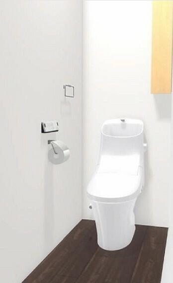 完成予想図(内観) 【内装パース】就寝前や夜中に重宝する2階トイレは、収納棚完備され!