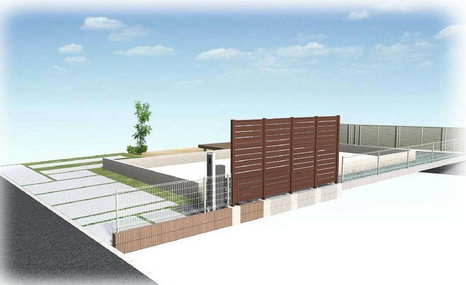 完成予想図(外観) 【外観パース】お家の仲が見えないよう玄関前には背丈まであるフェンスを採用!
