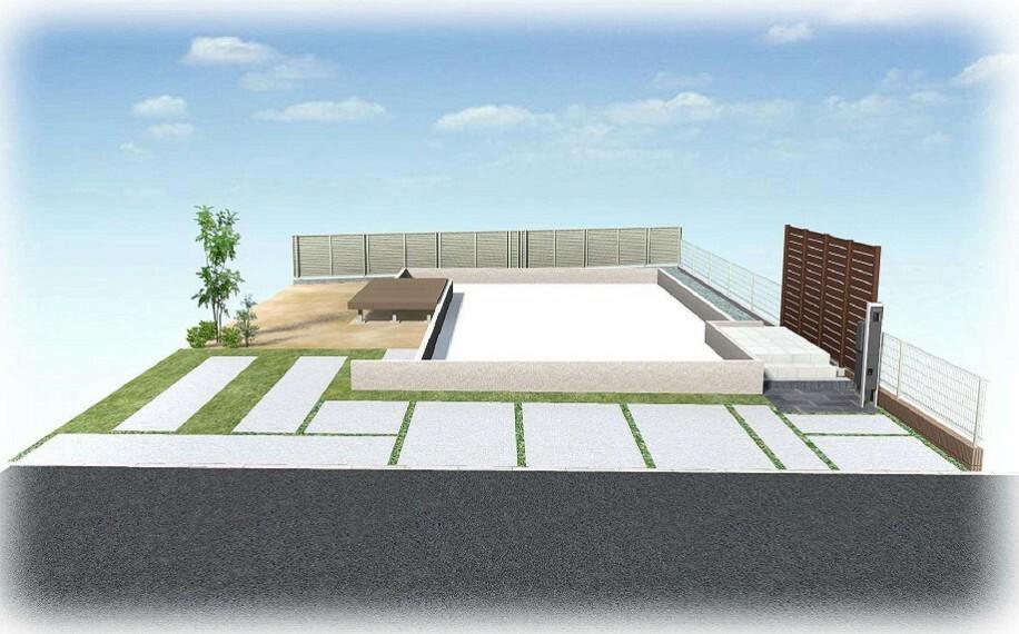 完成予想図(外観) 【外観パース】心とスペースに余裕を持って駐車できる、ゆったり駐車場!