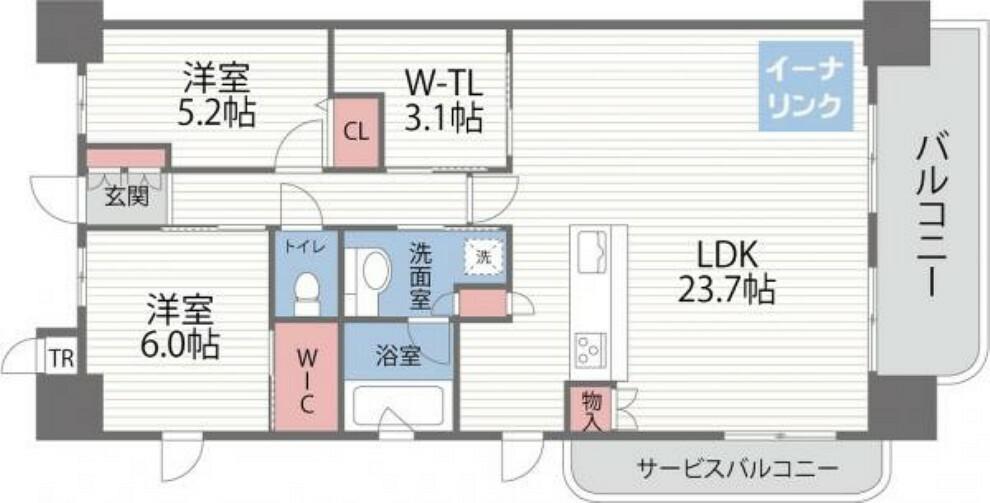 間取り図 LDK23.7帖の広さ!日当たり、眺望、通風良好の角部屋です!