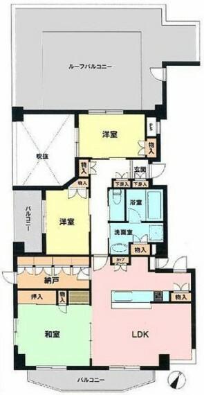 間取り図 平成19年築、最上階、南西角部屋につき、陽当り、眺望良好 全居室収納付き3LDK+納戸、ペット可
