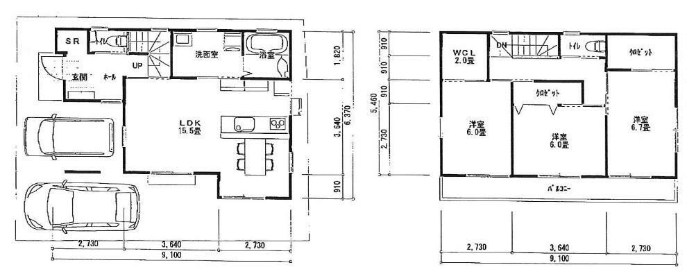 間取り図 1階 15.5LDK 2階 6帖 6帖 6.7帖洋室