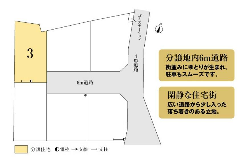 区画図 6m道路に面し、陽当たりと風通しに配慮した区画割りです。