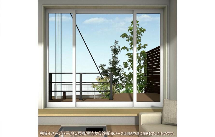 完成予想図(外観) 3mの大開口サッシからウッドデッキを介してお庭と繋がる気持ちの良いプランです。