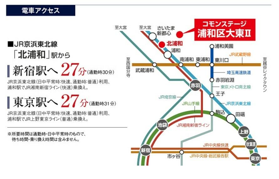 JR北浦和駅から都心へ31分圏内の好アクセス。快適な通勤通学をサポートします。