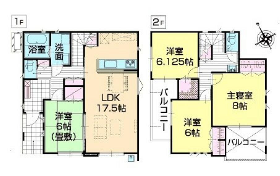 間取り図 17.5帖リビングに居室4部屋。リビングを通らずに入れる和室は急な来客時に客間としても便利です。