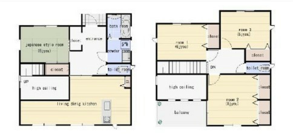 土地図面 木造2階建て4LDK。建物面積延べ108.54平米、1F48.6平米、2F59.94平米。