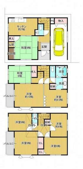 間取り図 大家族や2世帯でお住いをお考えのお客様向けの8K+ロフトのお家です。