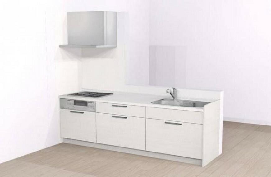 キッチン 【同仕様写真】ハウステック製システムキッチンに新品交換予定です。浄水器付きの節水タイプです。天板に人工大理石を採用する為、お手入れなども楽々で便利ですよ。