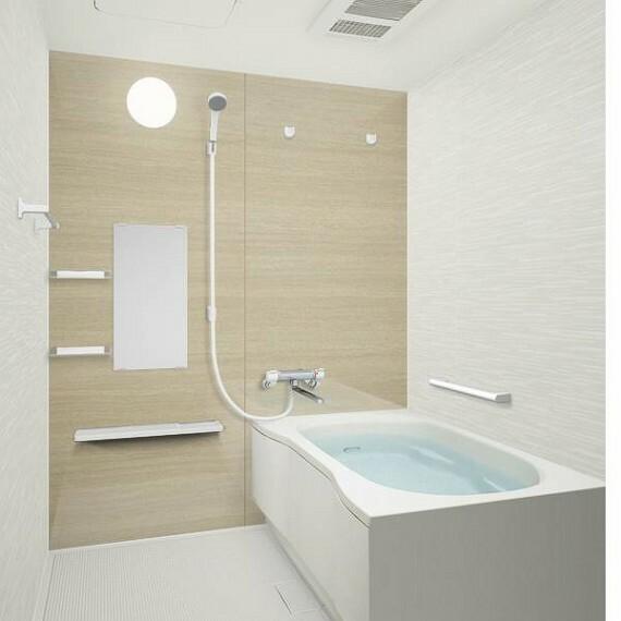 浴室 【同仕様写真】お風呂はハウステック製ユニットバスに新品交換予定です。少ない水量でもゆったりと感じられる形を追求した浴槽で節水とくつろぎを両立するデザイン。新しいお風呂で気持ちよく新生活をはじめませんか。