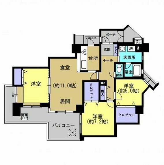 間取り図 【間取り図】リフォーム後の間取り図です。和室は洋室に変更する予定です。リフォームでは床のフローリング貼り、建具の交換、水回りの交換等を行います。