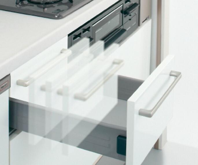 発電・温水設備 プルモーション  開け閉めの際の衝撃を吸収しゆっくり閉まる安心なプルモーション機能を採用。