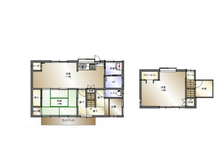 間取り図 使い勝手の良い2LDK住宅です。階段室の横に2帖の収納があります。全室クロス貼り替え・各居室、キッチン、階段天井に火災警報器を設置しました。