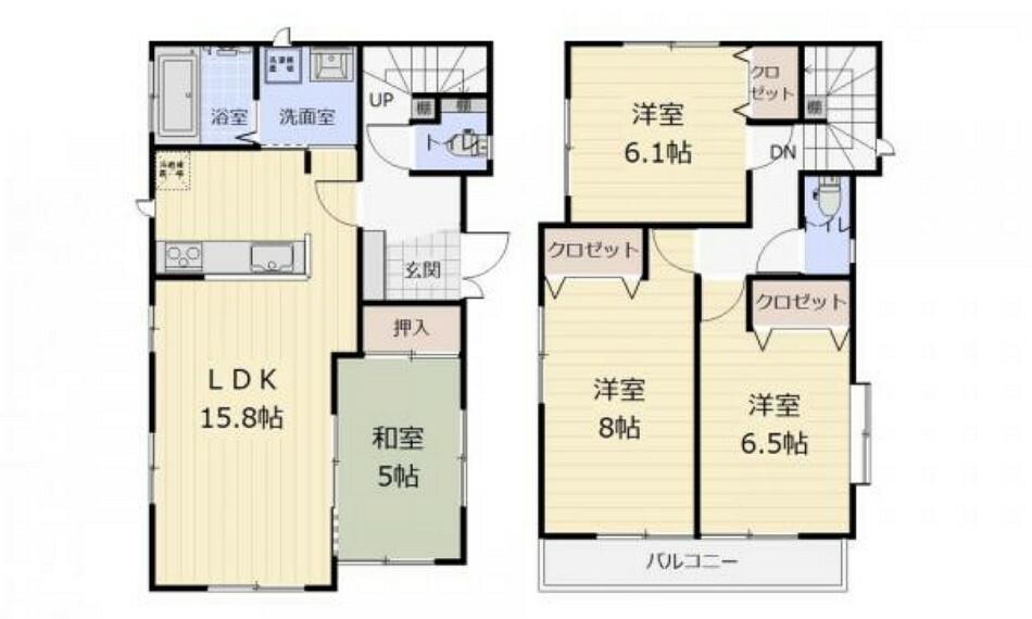 間取り図 (間取)家事導線も快適な2wayキッチン!各室収納付き〇