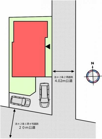 区画図 (区画図)駐車スペース2台分有り。南東角地で風通しも良いです!