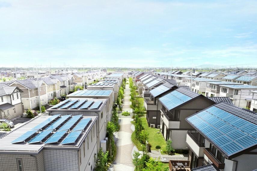 現況外観写真 街並み(撮影日/2019年4月 ※一部CG加工有。販売済み住戸含む)太陽光発電システム標準搭載の街です。