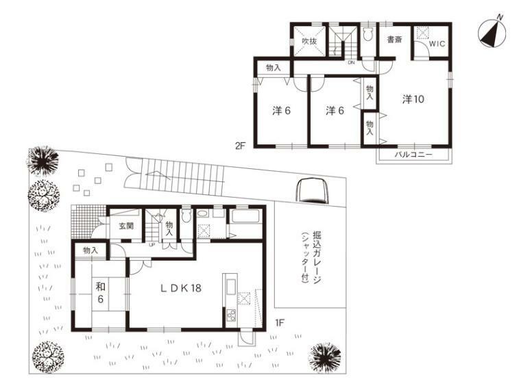 間取り図 4LDK+書斎+WIC+小屋裏収納